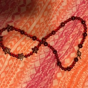 """NWOT red glass and pearl necklace with stars. 25"""""""